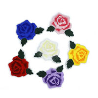 MIX 6PCS  Rose Flower Patch Embroidered Iron On Applique patches for clothes