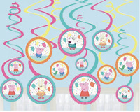 Peppa Pig Confetti Party Hanging Spiral Decorations Kids Birthday Supplies
