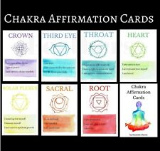 Handmade Watercolour Chakra Affirmation Card Set tarot cards spiritual cards