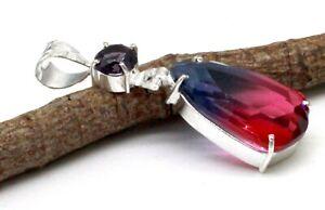 "925 Sterling Silver Tourmaline & Amethyst Gemstone Jewelry Pendant Size-2"""
