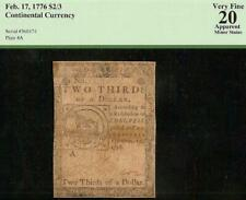 1776 $2/3 Fugio Chain Link Note Mind Your Business Continental Currency Pcgs 20