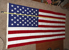 VTG Embroidered 50 Star American Flag 56x118 inch Valley Forge Made in USA