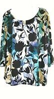 Calvin Klein Women's Floral Print Top 2X 22 24 Plus Size Blouse 3/4 Sleeves New