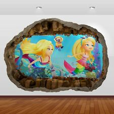 Barbie Dreamtopia  Movie 3d Smashed Wall View Sticker Poster Art Decal 850