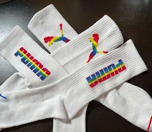 Puma Pride White Crew Socks 2 Pk Size 6-12, $2.99 Shipping