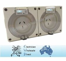 2 x 20 Amp 3 pin single phase Outlet Socket IP66 Weatherproof Industrial