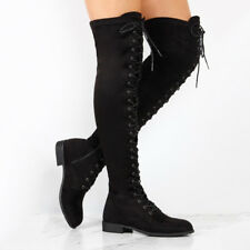 Women's Winter Leather Flat Thigh Knee High Casual Boots Riding Biker Shoes Size