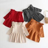 Toddler Baby Kids Girls Winter Warm Sweater Dress Knit Crochet Dresses Clothes L