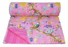 Indian Handmade Quilt Vintage Kantha Bedspread Throw Cotton Blanket Gudri King