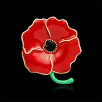 Cute Enamel Red Poppy Flower Brooch Pin Broach Jewelry Remembrance Gifts Women