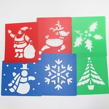 Plastic Christmas Art Stencils for Kids Festive Crafts 6 Pack Drawing Templates