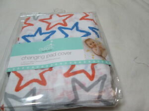 Aden by Aden + Anais STARS Cotton Muslin Chaning Pad Cover ~ Blue, Grey, Coral