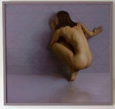 Original Framed Oil Painting Female Nude Girl woman crouching Art artwork