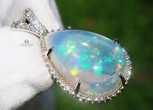 Opal Pendant Gold Diamond 14K Real Natural GIA Certified 20.28CTW RETAIL $14,100