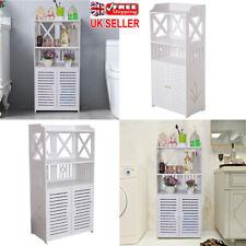 Bathroom Cabinet Freestanding Cupboard Shelf Storage MDF Furniture 2 Doors White