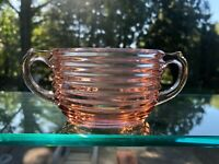 Anchor Hocking Art Deco Pink Depression Glass Manhattan Open Handled Sugar Bowl