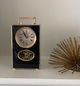 Rhythm Quartz Japan 4RE 679 Table Clock Mid Century Modern Black Gold