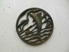 Vintage Marlin Cast Iron Trivet Hot Rest Plate Sail Fish 10-3 Japan