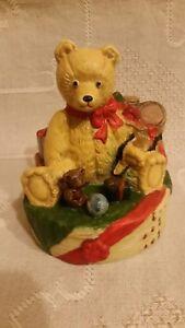 """Spieldose Spieluhr BESCHERUNG WEIHNACHTEN  Teddy-Bären Keramik """"O DU FRÖHLICHE"""""""