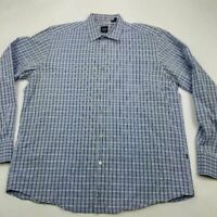 HUGO BOSS Mens Button Front Shirt Blue Plaid Long Sleeve Regular Fit Cotton XL