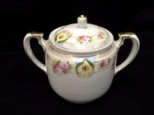 Nippon Vintage Pink Rose Sugar Bowl Lid Hand Painted Gold Trim Double Handle