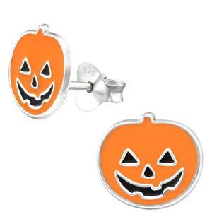 Halloween Pumpkin Hypoallergenic 925 Sterling Silver Stud Earrings For Kids