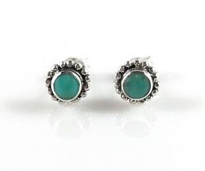 Genuine 925 Sterling Silver Turquoise Stud Earrings Turquoise Stone Earrings