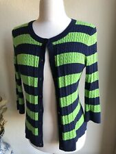 Talbots Petite Medium Navy And Green Striped Ribbed Sweater Cardigan