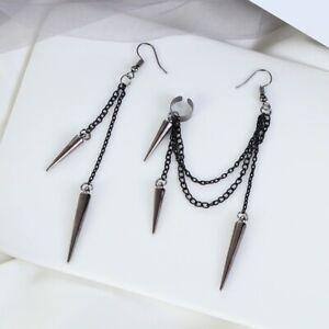 EARRINGS & EAR CUFF SET - Black chain spike tassle - gothic - punk