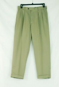 NWOT Pro Tour Khaki 34X30 Men's Expanded Waist Pleated Cuffed Pants Polyester