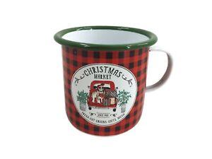 Red & Green Christmas Market Mulled Wine Enamel Mug Hot Drink Outdoor Xmas Tea