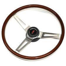 1967-68 Cutlass Walnut Wood Steering Wheel Kit - 3 Spoke - Brushed Spokes