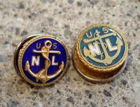 Lot 2 US Navy League Anchor United States USNL Pins Gold Tone 10K GF Vintage
