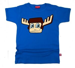 Stardust Ethically Made Kids Childrens MOOSECRAFT Youtuber T-shirt  (Blue)