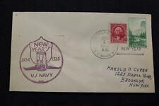 NAVAL COVER 1935 SHIP CANCEL NEW YEAR'S DAY U.S. RECEIVING SHIP BROOKLYN (1663)