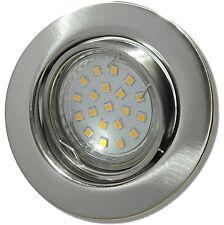 3,0W LED Einbauleuchte / Matt Chrom/ EEK A+ / 230V / 120° Licht / 45° schwenkbar
