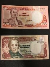 COLOMBIA  vintage Paper Money 1984 - 100 peso & 1986 - 500 peso  UNCIRCULATED