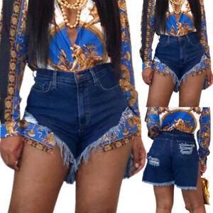 Women Ripped Distressed Hot Pants Short Jeans Denim High Waist Summer Casual Fit