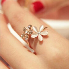 Women Fashion Jewelry Ring Filled Daisy Crystal Rhinestone Gold Rings Gift LCA