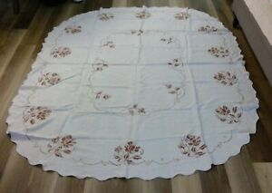 """Vintage Hand Cross-stitch Embroidered Oval Tablecloth -Ecru-about 66""""x80"""""""