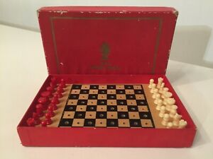 VINTAGE BOXED TSL TRAVEL POCKET CHESS SET WITH BOARD - FREE UK P&P