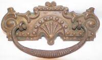 Victorian Pressed Brass Drawer Pull Fan & Scroll Cast Iron Bail Antique Bureau 1