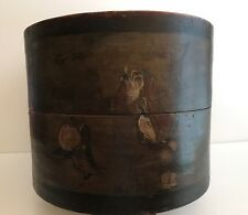 Vintage Asian China Hand Carved Hand Painted Hat Box Round Dark Wood Decor