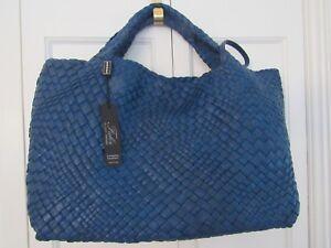 Authentic FALOR Italia Woven Leather Tote - Ocean  – NWT - $800+