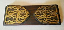 ANTIQUE WOODEN BOOK/BIBLE STAND WITH INTRICATE BRASS WORKED PATTERN
