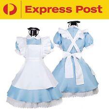 Alice in Wonderland Cosplay Costume Adult Dress + Headpiece M L XL XXL