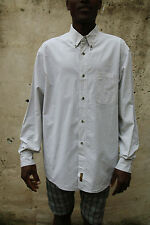 Timberland Mens Casual Shirt Tartan Checked White, Beige Cotton Long Sleeved XL