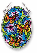 "Butterflies Flowers Sun Catcher Morning Glory Amia Hand Painted Glass 4.5"" High"