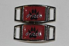 "Grizzly Bear Paw ""Grizz"" Rectangle shoelace charm pair (2) shoes/paracord"