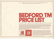 BEDFORD COMMERCIAL  TM PRICE LIST SALES BROCHURE/SHEET FEBRUARY  1977